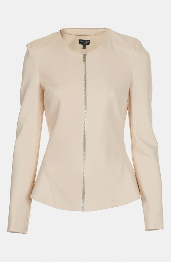 Main Image - Topshop 'Nicole - Clean Seam' Collarless Peplum Jacket