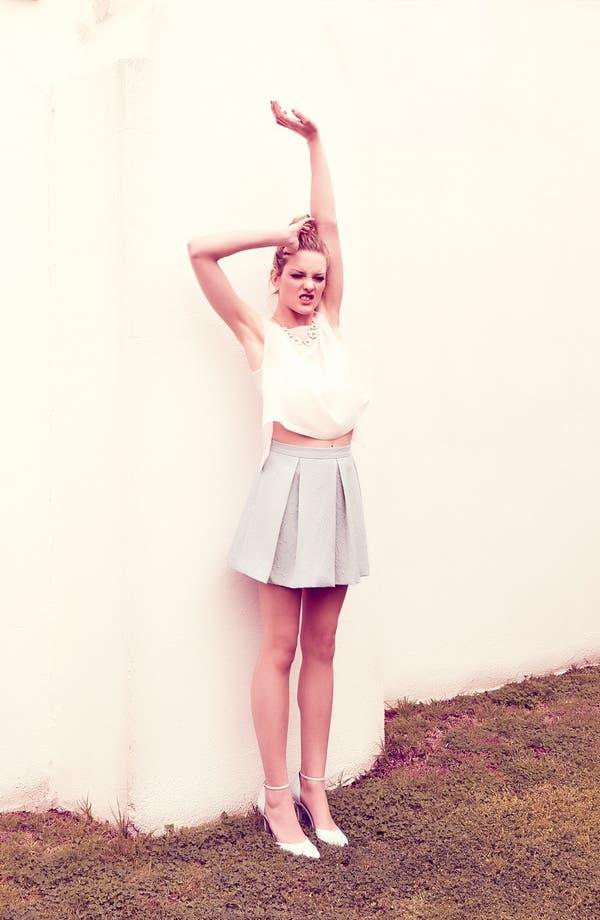 Alternate Image 1 Selected - Tildon Origami Shell, Lace Bralette & Box Pleat Skirt