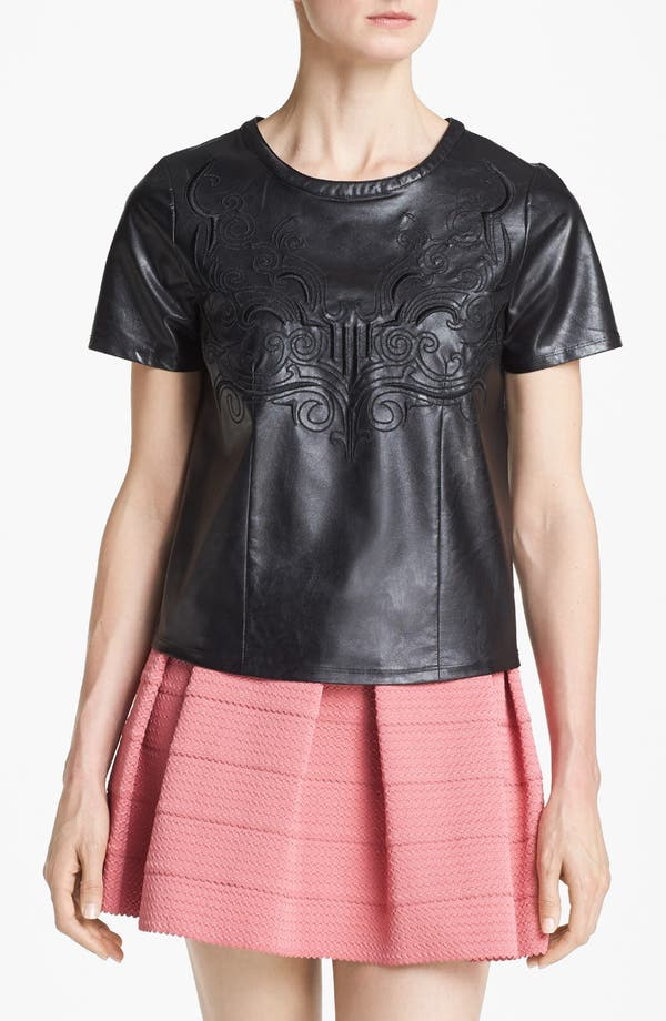 Alternate Image 1 Selected - ASTR Embroidered Faux Leather Tee