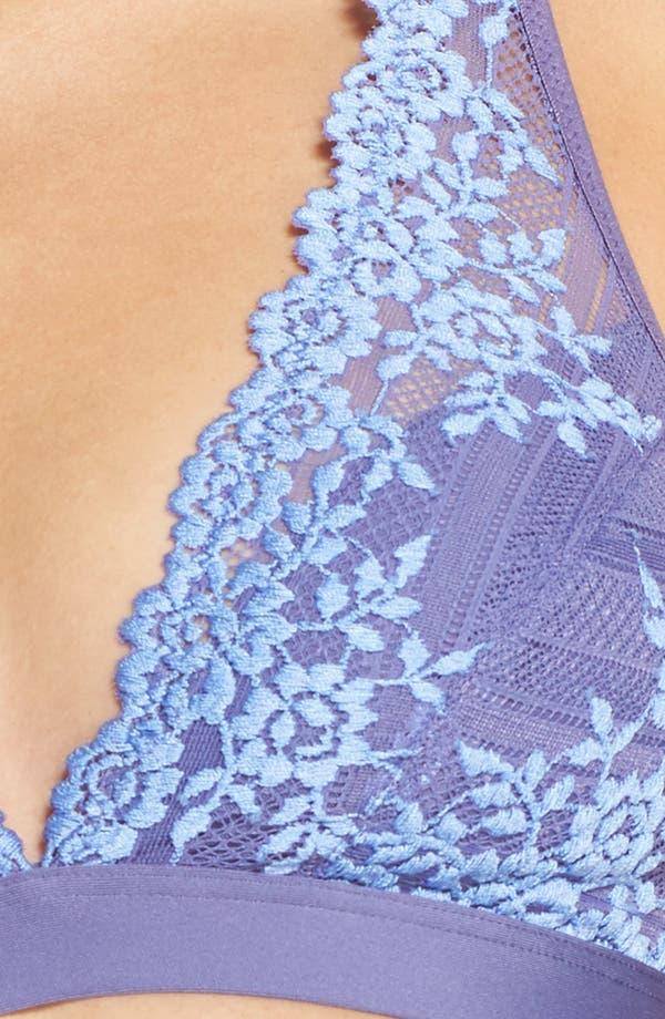 'Embrace Lace' Deep-V Bralette,                             Alternate thumbnail 5, color,                             Twilight Purple/ Hydrangea