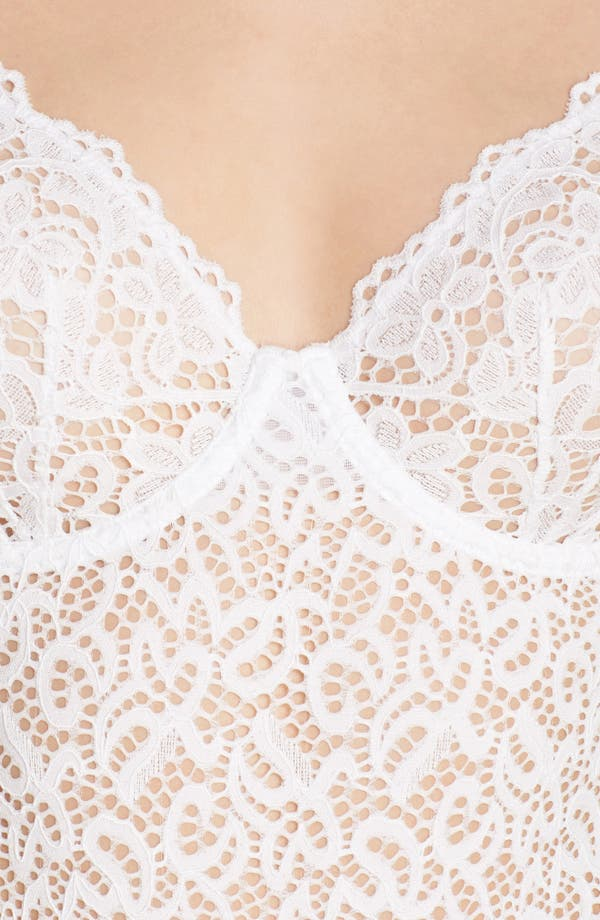 Classic Lace Underwire Bodysuit,                             Alternate thumbnail 5, color,                             Poplin White