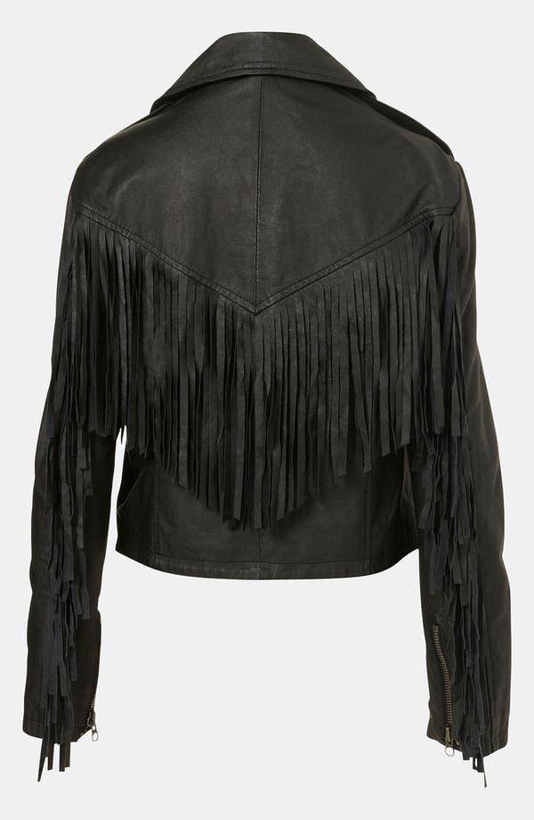 Alternate Image 2  - Topshop 'Sally' Fringe Leather Biker Jacket