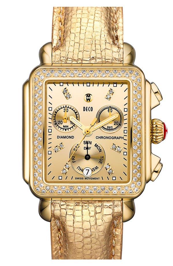 Alternate Image 2  - MICHELE 'Deco Diamond' Diamond Dial High Shine Gold Watch Case