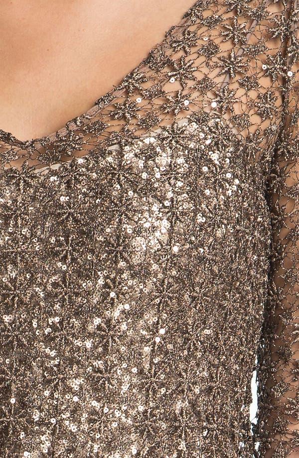 Alternate Image 3  - Kay Unger Double V-Neck Metallic Overlay Dress