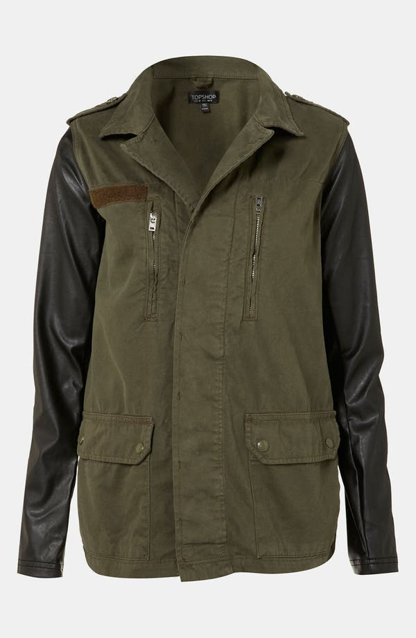 Main Image - Topshop Faux Leather Sleeve Army Jacket