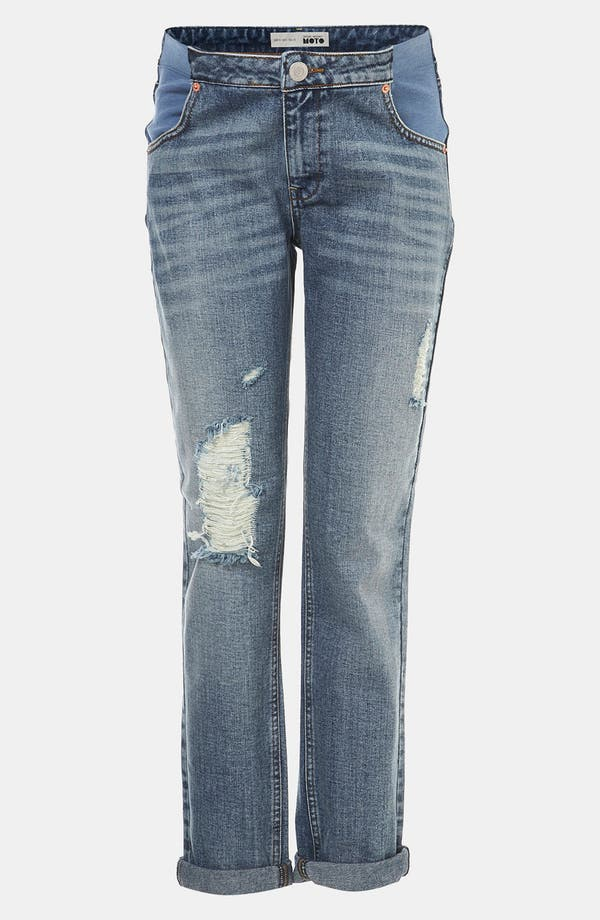 Main Image - Topshop 'Evie' Distressed Slim Moto Maternity Jeans