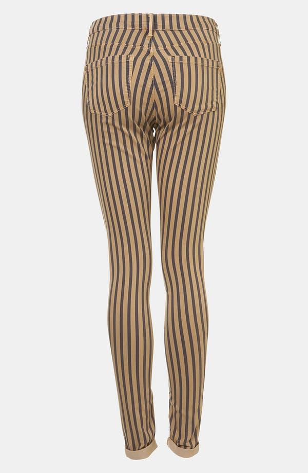 Alternate Image 2  - Topshop Moto 'Leigh' Stripe Skinny Jeans (Navy)