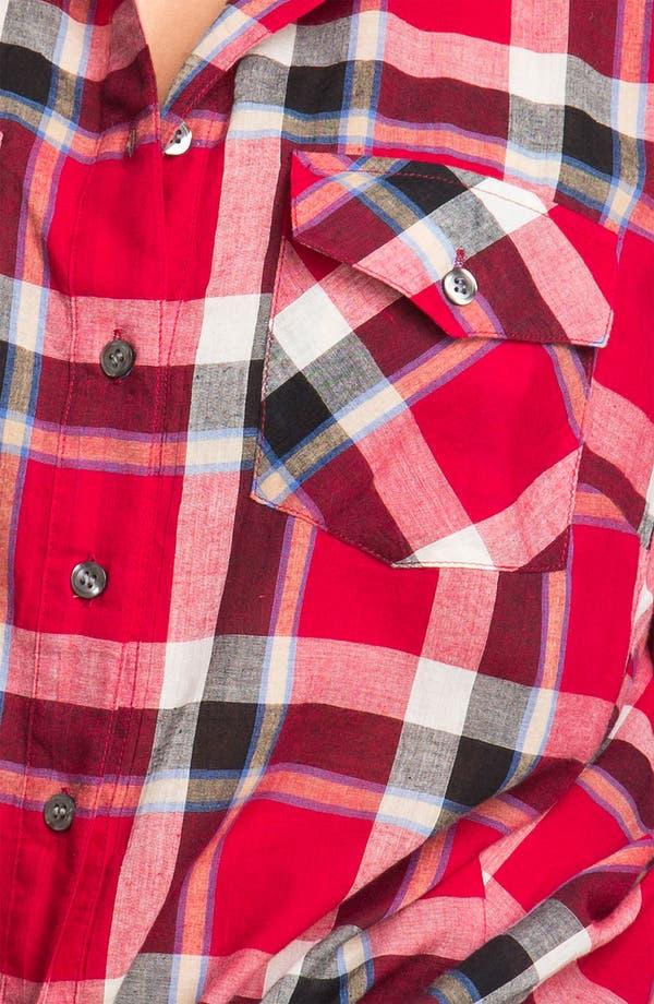 Alternate Image 3  - Sandra Ingrish Roll Sleeve Plaid Shirt (Plus)