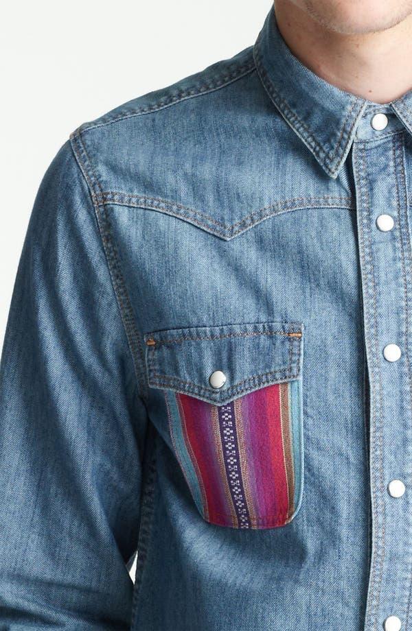 Alternate Image 3  - Topman Pattern Pocket Denim Shirt