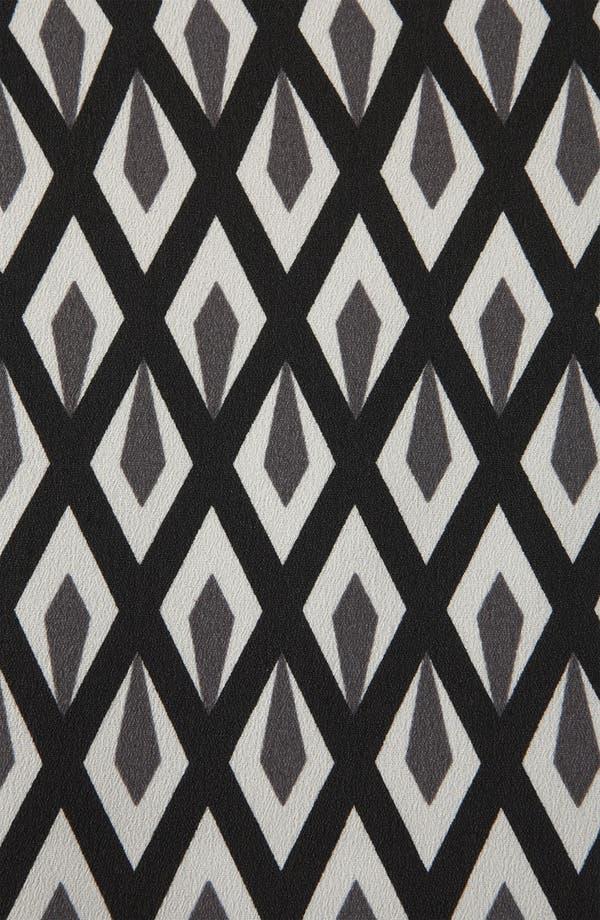 Geo Print Peplum Dress,                             Alternate thumbnail 3, color,                             Black/ Grey