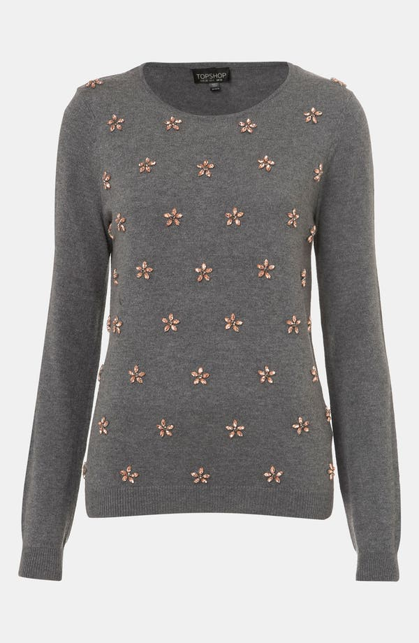 Main Image - Topshop Embellished Flower Sweater