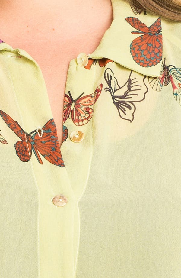 Alternate Image 3  - Citron Butterfly Print Silk Jacket (Plus)