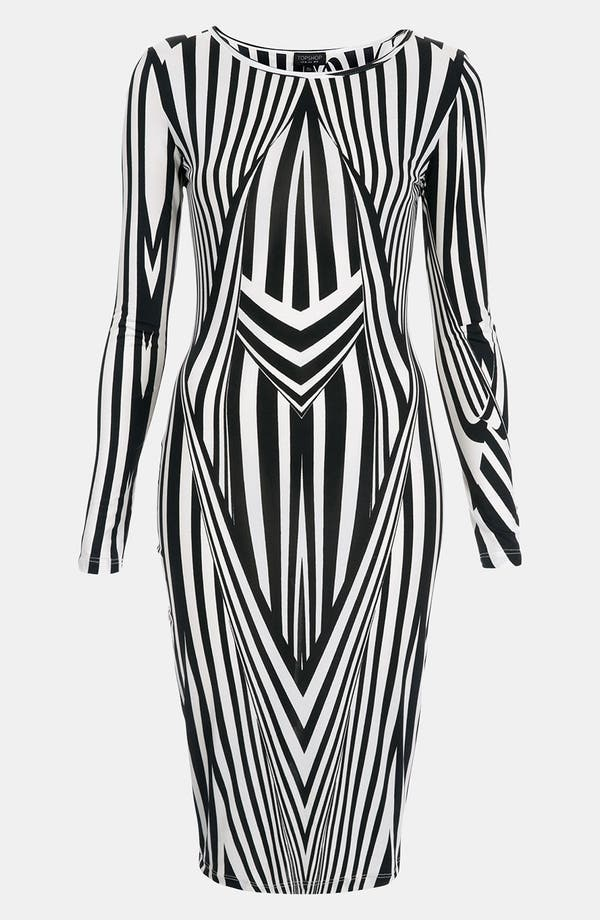 Main Image - Topshop Black & White Optical Body-Con Dress