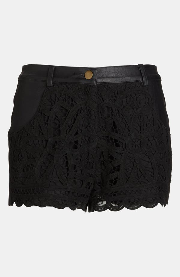 Alternate Image 1 Selected - ASTR Crochet Front Faux Leather Shorts