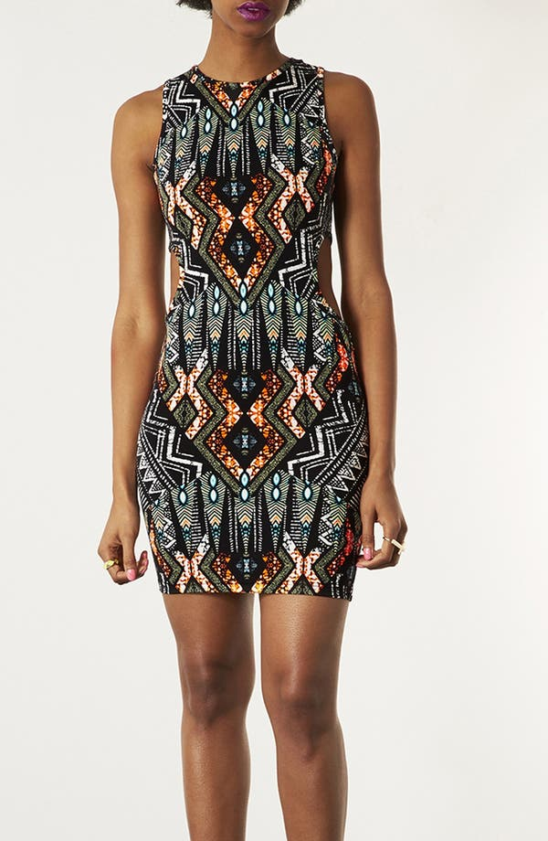 Main Image - Topshop Cutout Tribal Print Body-Con Dress