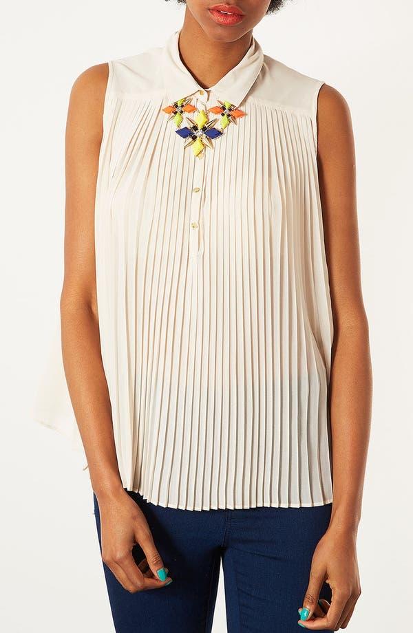 Alternate Image 3  - Topshop Pleated Sleeveless Shirt