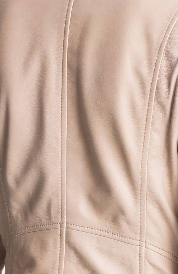 Alternate Image 3  - Halogen® 'Waterfall' Leather Jacket (Petite)