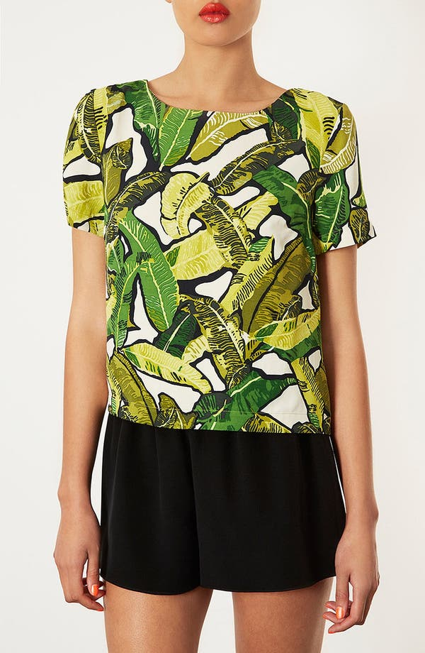Alternate Image 1 Selected - Topshop Banana Leaf Print Top