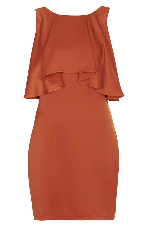 Alternate Image 3  - Topshop Ruffled Bodice Satin Body-Con Dress