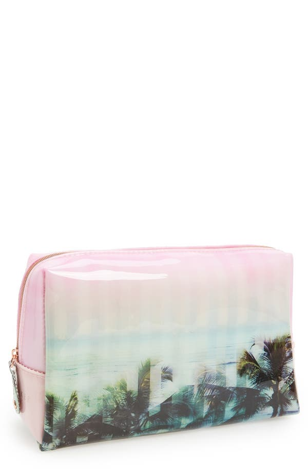 Main Image - Ted Baker London 'Large' Palm Tree Print Cosmetics Bag