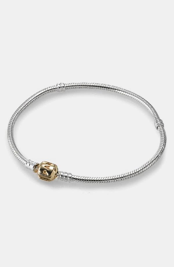Alternate Image 1 Selected - PANDORA Gold Clasp Sterling Silver Charm Bracelet