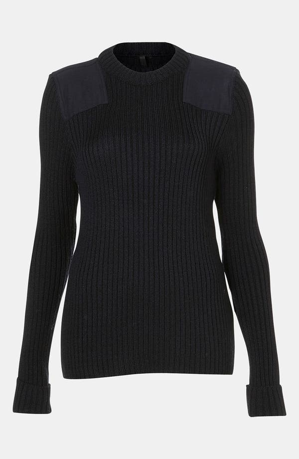 Alternate Image 1 Selected - Topshop Boutique Ribbed Military Sweater