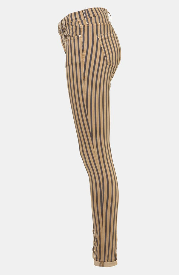Alternate Image 4  - Topshop Moto 'Leigh' Stripe Skinny Jeans (Navy)