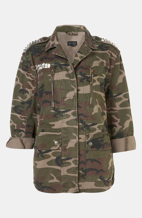 Main Image - Topshop Studded Camo Jacket