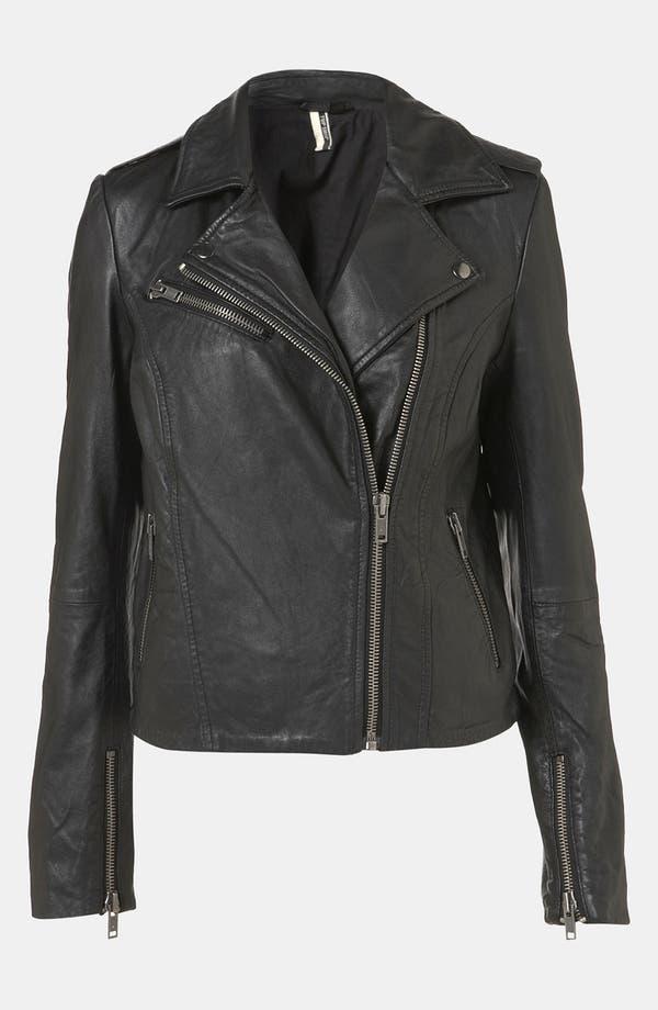 Main Image - Topshop 'Winston' Leather Biker Jacket