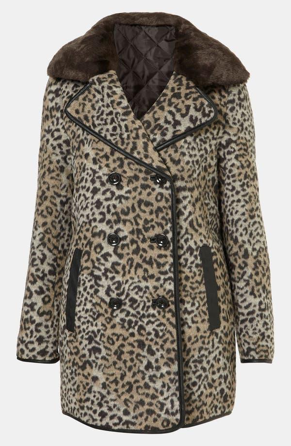 Main Image - Topshop 'Karin' Faux Leopard Fur Coat