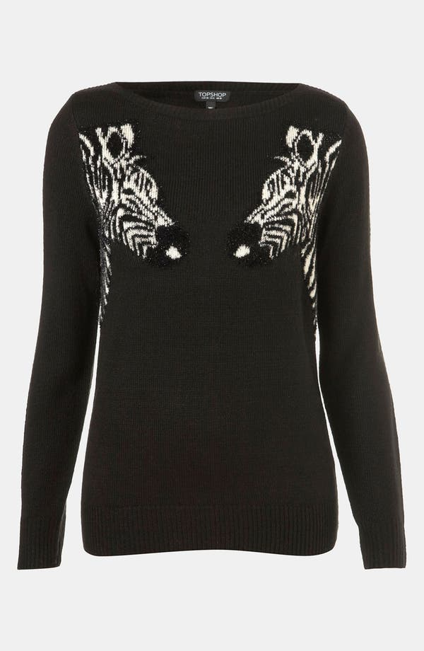 Alternate Image 1 Selected - Topshop 'Mirrored Zebras' Sweater