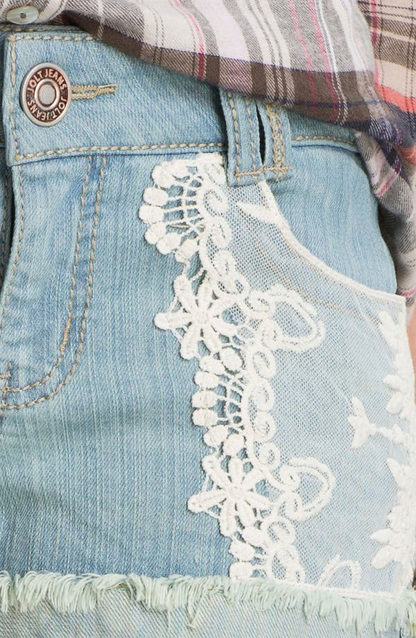 Alternate Image 3  - Jolt Lace Appliqué Denim Shorts (Juniors)