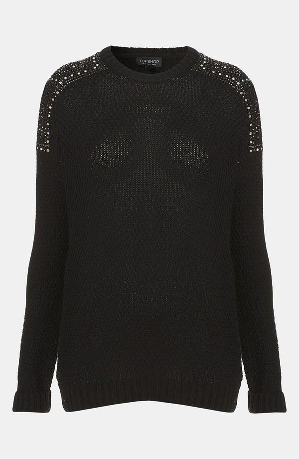 Alternate Image 1 Selected - Topshop Embellished Shoulder Sweater