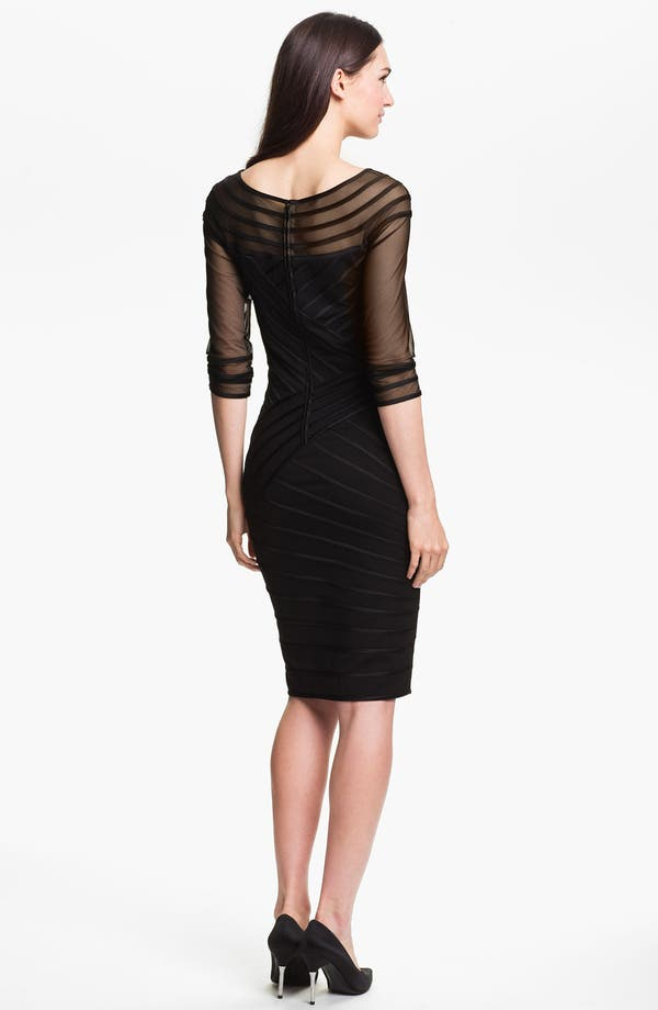 Alternate Image 2  - Tadashi Shoji Sheer Sleeve Satin Trim Sheath Dress