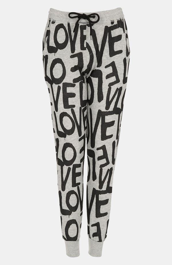 Alternate Image 1 Selected - Topshop 'Love' Print Tapered Sweatpants