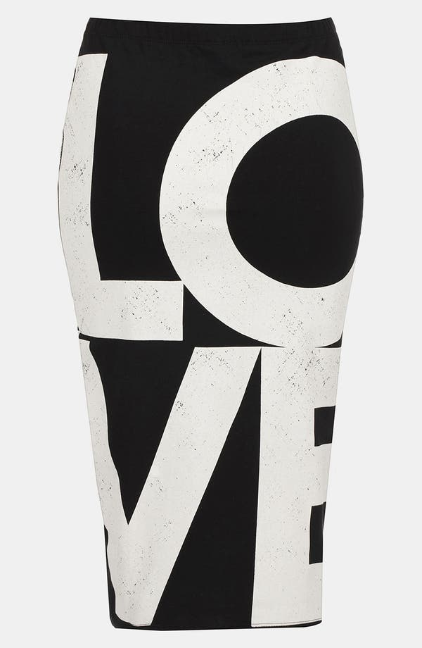 Alternate Image 2  - Topshop 'Love' Print Midi Skirt