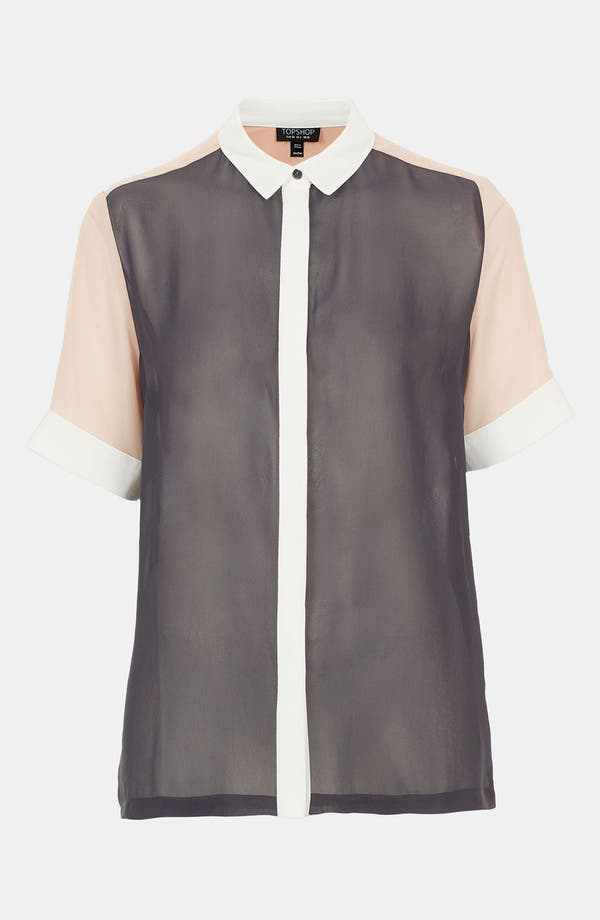 Main Image - Topshop Colorblock Chiffon Shirt