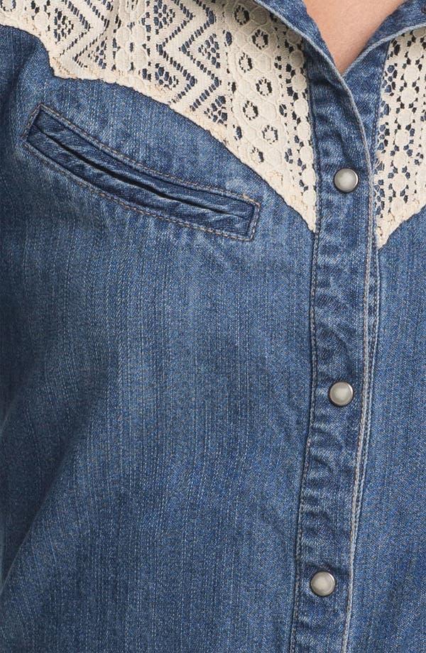 Alternate Image 3  - Sanctuary Lace Trim Denim Shirt