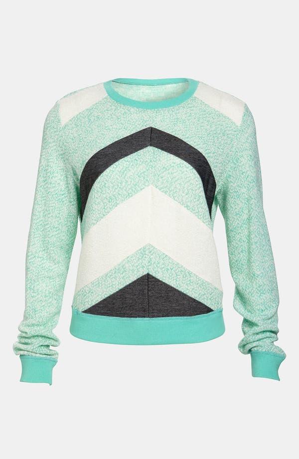 Chevron Stripe Sweater,                         Main,                         color, Sea Breeze