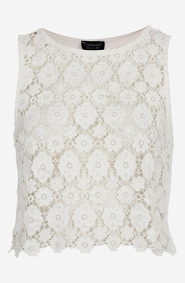 Main Image - Topshop Crop Doily Lace Top