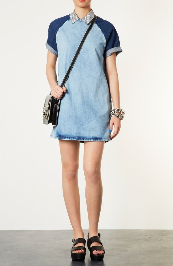 Alternate Image 1 Selected - Topshop Contrast Sleeve Denim Dress