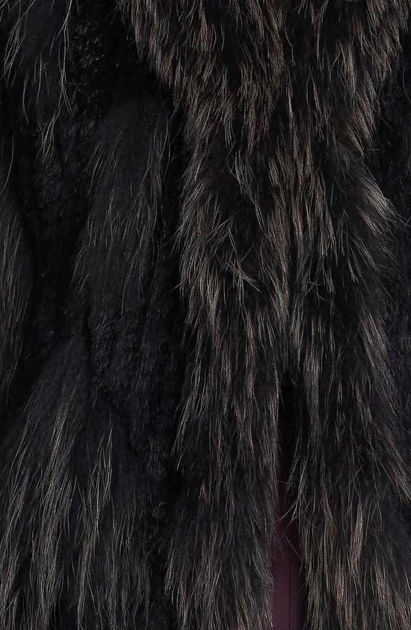 Genuine Rabbit & Raccoon Fur Vest,                             Alternate thumbnail 3, color,                             Black