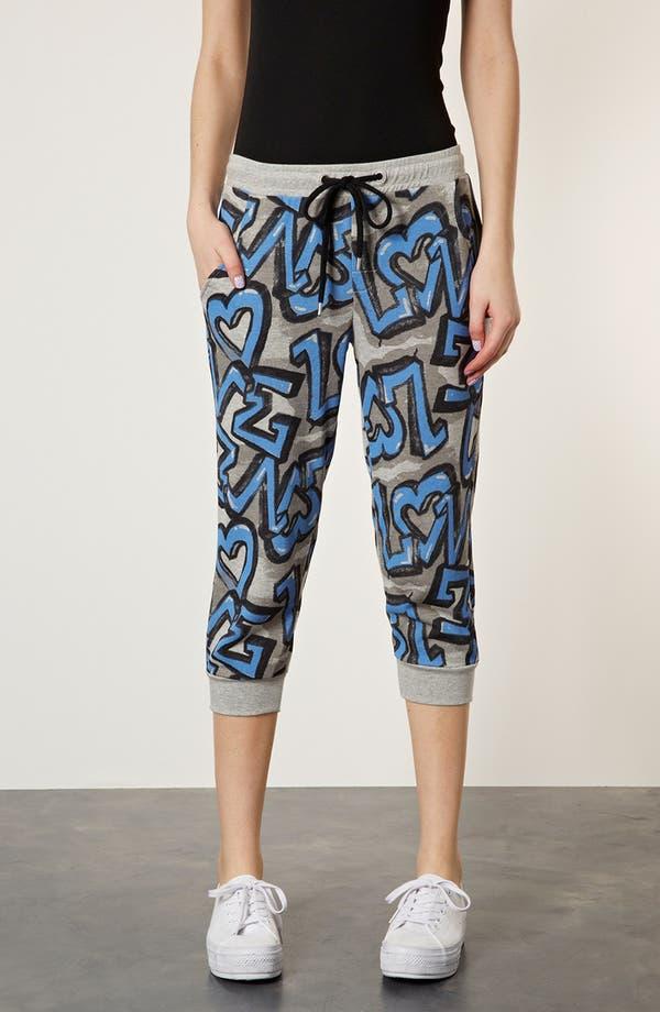 Main Image - Topshop 'Graffiti' Crop Jogging Pants