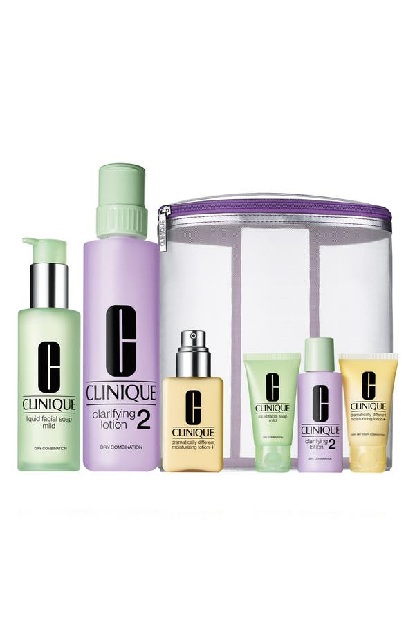 Main Image - Clinique 'Great Skin Home & Away' 3-Step Skincare Set for Dry to Dry Combination Skin ($90 Value)