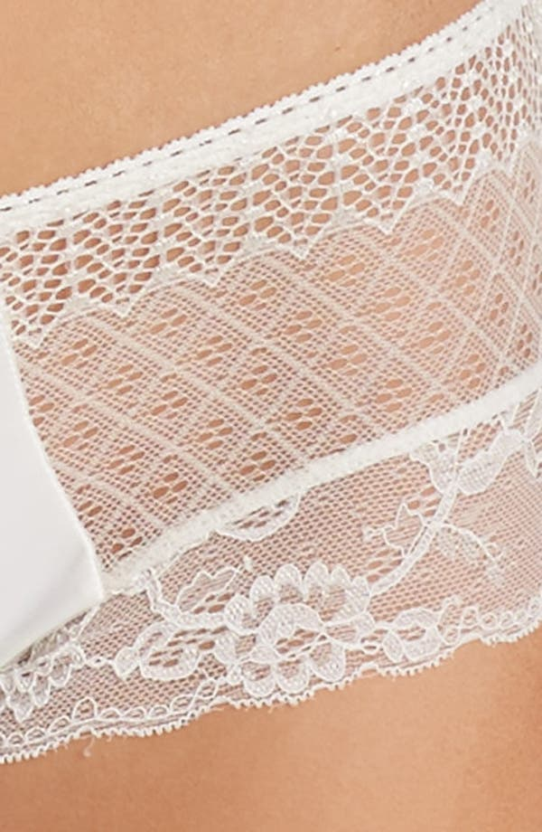 Honeydew Microfiber & Lace Hipster Panties,                             Alternate thumbnail 8, color,                             Ivory