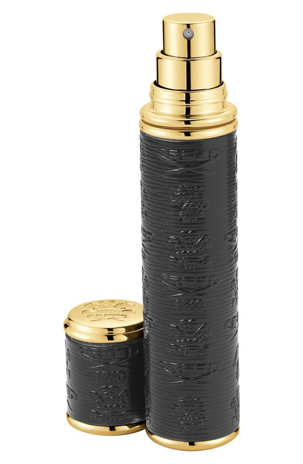 Black with Gold Trim Leather Atomizer,                         Main,                         color, No Color