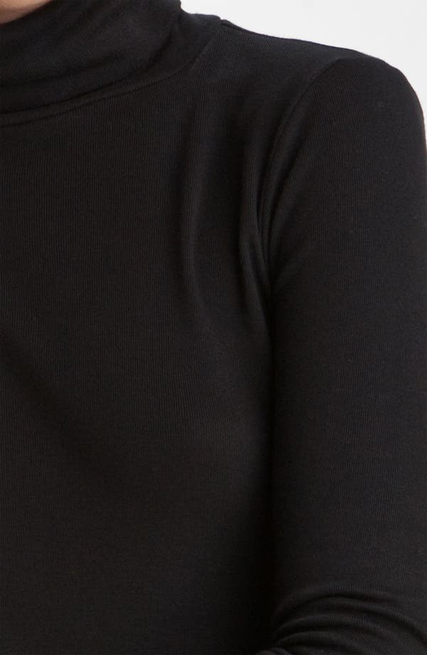 Fitted Turtleneck,                             Alternate thumbnail 3, color,                             Black