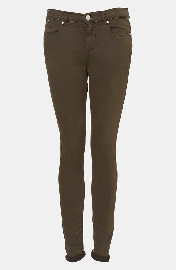 Main Image - Topshop Moto 'Leigh' Skinny Jeans (Dark Khaki)