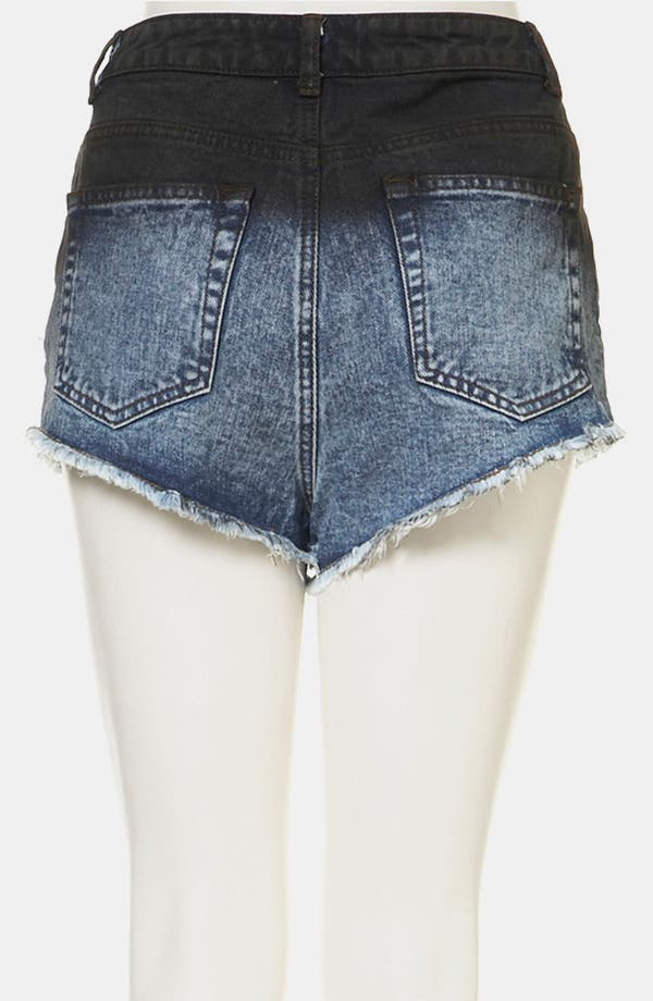 Alternate Image 2  - Topshop Moto Embroidered Dip Dye Denim Shorts