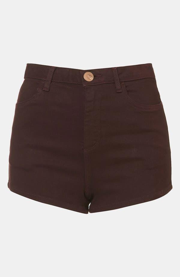 Alternate Image 1 Selected - Topshop Moto 'Suri' Denim Hot Pants (Burgundy)